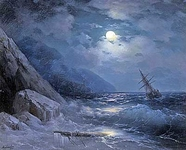 Moonlit landscape with a ship