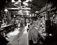 1890s New Zealand. Grocery shop interior, with staff, location unidentified