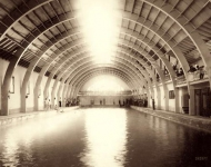 1891. Hot Springs, South Dakota. Interior of largest plunge bath in U.S. on Fremont, Elkhorn Missouri Valley Railway.
