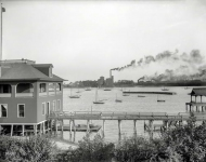 1899. Toledo Yacht Club. View from Riverside Park on Maumee River.