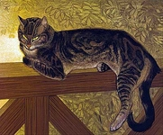 Summer: cat on a balustrade