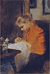 Leopoldine Steindl-Moser, the Artist's Sister, Sewing