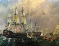 The canvas represents the Spanish ship Pelayo coming in aid of the ship of four bridges Santísima Trinidad during the battle of Cabo de San Vicente