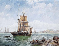 A trading brig drifting into a Continental harbour