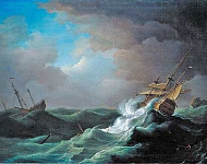 Peter Monamy - Ships in distress in a storm