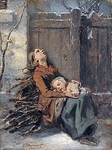 Николя Октав Тассёр - Destitute Dead Mother holding her sleeping Child in Winter