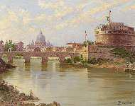 The Tiber and The Castel Saint Angelo and Fisherman on the Venetian Lagoon