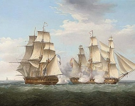 HMS Ethalion in action with the Spanish frigate Thetis off Cape Finisterre, 16 October 1799