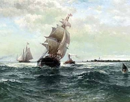 Edward Moran (1829 - 1901) - Off atlantic shore