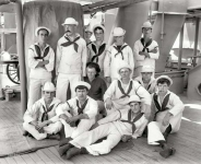 Aboard the U.S.S. New York circa 1896. Group of sailors