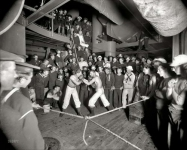 Aboard the warship U.S.S. Oregon circa 1897. Second round. Our third look at this nighttime boxing match