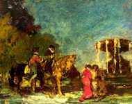 Adolphe Monticelli - Fountain in a Park