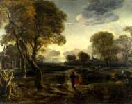 Aert van der Neer - An Evening View near a Village