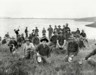 Circa 1898. Boys of the 71st N.Y. at Montauk Point after returning from Cuba. Young veterans of the Spanish-American War.