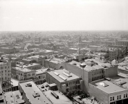Circa 1899. General view, Los Angeles. The lefthand section of a three-frame panoramic set