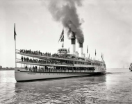 Circa 1901. Sidewheeler Tashmoo. Our fourth look at the popular excursion steamer, which plied the Detroit River between Detroit and Port Huron.