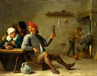 David Teniers the Younger - A Man holding a Glass and an Old Woman lighting a Pipe