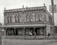 Elson chemist and Dutton bookshop on Courtenay Place, Wellington, between 1896 and 1897