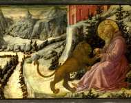 Fra Filippo Lippi and workshop - Saint Jerome and the Lion - Predella Panel