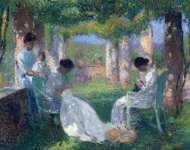 Women Sewing in Grand Pergola in Park of Marquayrol