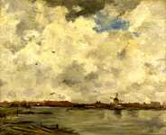 Jacob Maris - A Windmill and Houses beside Water - Stormy Sky