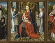 Master of the St. Lucy Legend - Triptych of Madonna and Child with Angels; Donor and His Patron Saint Peter Martyr; and Saint Jerome and His Lion