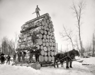 Michigan circa 1890s. Logging a big load. Continuing our Michigan travelog