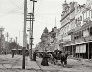 New Orleans in the 1890s. Canal Street from the Clay monument