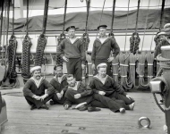 New York, 1893. Columbian Naval Review. Group of sailors, Imperial Russian Navy