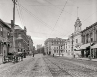 Portland Maine circa  Congress Street south from Market At right City Hall in the final stages of construction
