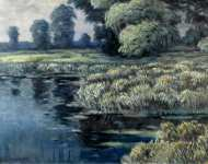 Willows and Reeads in a River Landscape