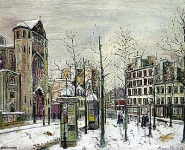 The Place des Abbesses in the Snow