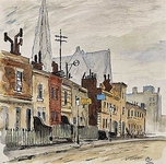View of Elm Street and St Yeghiche Armenian Church, Chelsea, London