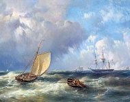 Ships with fishermen and figures in a rowing boat on the North Sea in stormy weather