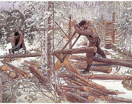 Woodcutters in the forest