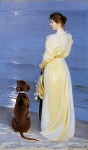Summer evening at Skagen. Artist's wife and dog by the shore