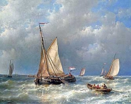 Abraham Hulk - Stormy Sea With Ships