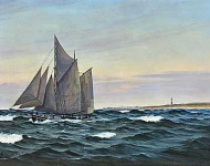 Emanuel Aage Petersen - Sailing ship at sea off the Hirtshals Lighthouse
