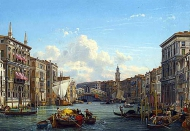 A view of the grand canal looking towards the rialto bridge, Venice