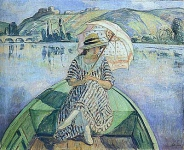 Woman in a Boat with an Umbrella
