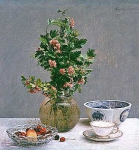 Still Life with Vase of Hawthorn and Bowl of Cherries